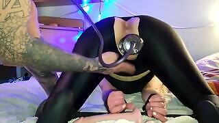 Horny soldier gives a hardcore homemade sensual pussy BDSM tease to his girlfriend until she she has big orgasm with leg trembling