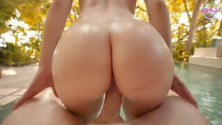 😏 Reislin is horny and does not want to be caught fucking her neighbor at home so she takes him to the forest where she rides his cock after she sucks his cock