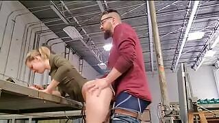 Horny girlfriend interrupts the boyfriend in the warehouse where he is working to get her vagina quickly licked and fucked hard