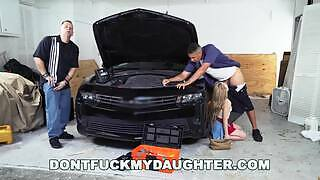 Intense scene sex in the garage where a young blonde slut gets a big Latin cock in her pussy and is fucked nonstop and in all ways.