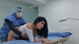 Martina Smith seduces ber doctor into sliding his cock into her pussy. Her doctor fucked her pussy from behind till he cums inside her.