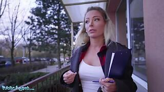 Isabelle Deltore is offered cash for sex by this stranger on her way home. She rides his cock after he fucked her pussy from behind.